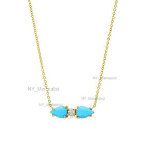 Solid 14K Yellow Gold Natural Pear Turquoise Gemstone Diamond Pendant Necklace