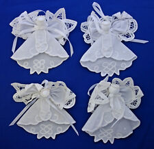 set of 4 Christmas ornaments hand made Angels lace and pearls