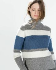 ZARA Grey Stripe Wool Mohair Turtleneck Jumper Sweater S 8
