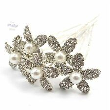 Bridal Wedding Silver Crystal Diamante & Pearl Lily Flower Hair Pins HP20