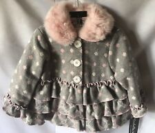 Isobella & Chloe Girls Gray Pink And White Coat With Pink Faux Fur Trim 3T-New