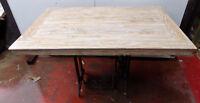 Tavolo da pranzo stile industrial in legno teak e macchina cucire cm 120x80x77h