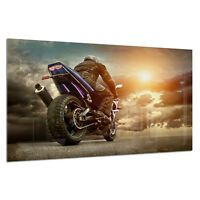 Tempered Glass Photo Print Wall Art Picture Motorcyclist Racing Prizma GWA0335