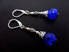 A PAIR OF BLUE CRACKLE BEAD SILVER PLATED DROP LEVERBACK HOOK EARRINGS. NEW