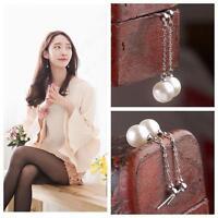 Long Elegant Drop/Dangle Ear Studs Earrings Silver Plated Freshwater Pearl