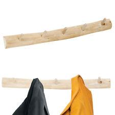 Natural Rustic Handmade Wooden Teak Wall Mounted Coat Jacket 5 Hook Rack 80cm