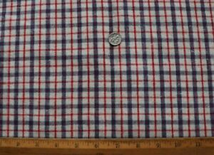 """Antique c1870 French Heavy Linen Red & Blue Plaid Check Fabric~L-58"""" X W-29"""""""