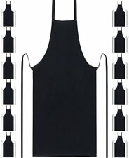 10 X  Full Apron With Pocket Professional Chefs Waiters- Black, ONE REGUALR SIZE
