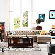Remsoft Chaise Sofa Tufted Cornor Sofa Couch Set Lounge Suite Chesterfield Style