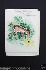 # I 60- Vintage Unused Xmas Greeting Card Deer Looking at Shiny Gemstone