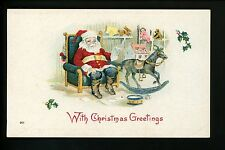 Christmas Santa postcard Red suit Rocking horse drum toy teddy bear doll Vintage