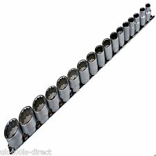 "17pc 3/8"" Drive Socket Set Metric 8 - 24mm Bi Hex 12Pt Cr-v On Rail Shallow"