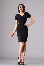 Very Elegant Wiggle Dress Short Sleeve V Neck Pencil Tunic Sizes 8-16 FA272