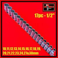 "Socket Set 17pc Metric 1/2"" Drive Bi- Hex 12 point CR-V 10 - 30mm Rail"