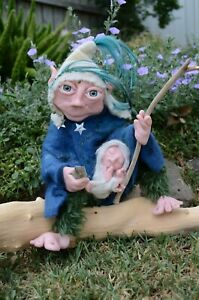 OOAK Artist Doll Handmade Sculpted Sitting Elf Gnome with baby
