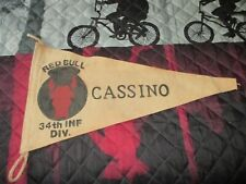 WWII US ARMY 34 TH INFANTRY RED BULL CASSINO  BAR/BARRACKS WALL  FLAG