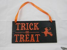 Halloween Wood Sign Door Hanger Wall Hanger Trick or Treat With Witch