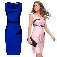 Women's Square Neck Sleeveless Midi Pencil Dress with Split Back Hem