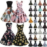 Women Floral Rockabilly Pinup Housewife Hepburn Style Party  50s 60s Swing Dress
