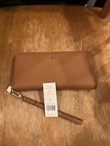 NWT TORY BURCH York Emerson Zip Around Leather Wallet Wristlet BROWN AUTHENTIC!