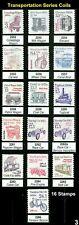 US 3nd Transportation Series #2252  - 2266 Single Coils Complete Set  MNH