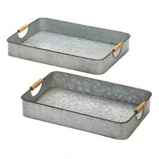 HOME KITCHEN DECOR GALVANIZED METAL S/2 RECTANGULAR TRAYS