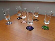 6x Vintage Coloured Base and Etched Sherry Glasses