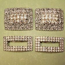 2 Pairs Vintage Silver Tone Rhinestone Shoe Clips Tip Toe - Some Wear