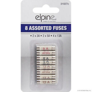 Domestic Household Ceramic Mixed Fuses (2 x 3AMP) (2 x 5AMP) (4 x 13AMP) 8 Pack