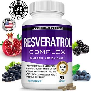 Resveratrol Maximum 1200 MG Strength Natural (90 CAPSULES) AntiAging Antioxidant