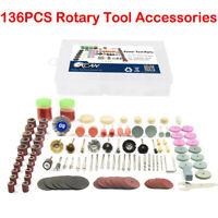 136 tlg Polierset Schleifwerkzeug Zubehör für Rotationswerkzeuge Schleifscheiben