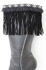 Western Women Winter Boot Toppers Black Fabric Long Fringe Knee High White Cross