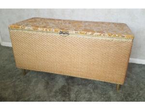 Vintage 1970's Ottoman wicker Storage Blanket Box