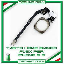 TASTO HOME BUTTON COMPLETO FLAT FLEX PER APPLE IPHONE 5S BOTTONE BIANCO WHITE