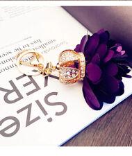 Women Fashion Car Key Ring Bag Rhinestones Crown petals Pendants metal Key Chain