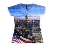 Women's Sublimation Empire State Building V Neck T Shirt size LARGE Slim