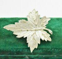 Vintage Sterling silver brooch pin Maple leaf Art Nouveau statement gift #W633