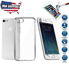 For iPhone 8 7 6 6s Plus Clear Case Silicone + Tempered Glass Screen Protector