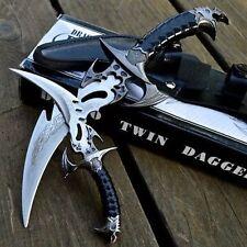 2pc FANTASY CLAW Fixed Blade KNIFE TWIN DAGGER Set Draco w/ SHEATH