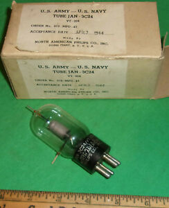 North American Philips JAN 3C24 / VT-204 Triode NOS Good Fil w/ Carton (1944)