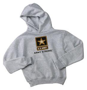 Youth Army Hoodie gray kids sweatshirt us army hoodie boys 2 4 6 8 10 12 gray