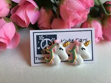 "Resin 1"" Large Unicorn Gold Horn Stud Earrings"