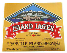 Granville Island Brewing ISLAND LAGER beer label CANADA 341ml 5% ABV