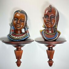 Vintage 1960 Achatit Werkstatten African Masai Warrior Pair Wall Masks Sculpture