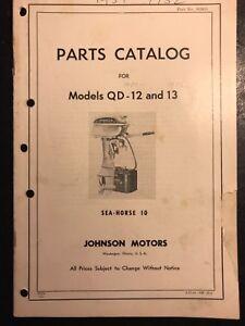 VTG 1951 1952 Johnson Outboard Parts Catalog Sea Horse 10HP Model QD-12 QD-13