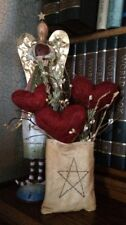 Primitive Star Garden Bag Valentines Hearts Pips Wall Hanging Tuck Hanger 10""
