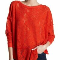 Free People Not Cold in This Orange Knit Lace Sweater Top Size S Semi Sheer