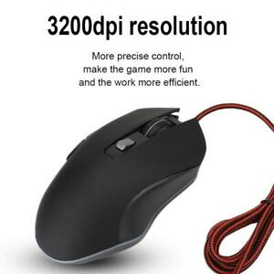 Wired Gaming Mouse Silent RGB Backlit 3200DPI USB Optical Ergonomic Gaming Mice