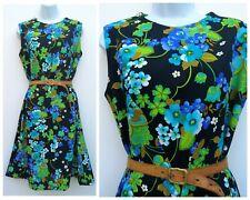 Vintage 60s 70s Psychedllic black floral pattern Midi shift Dress 12 M Mod gogo