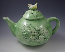 VINTAGE MAJOLICA TEAPOT WITH yellow BIRD FINIAL AND FRUITS MADY IN ITALY